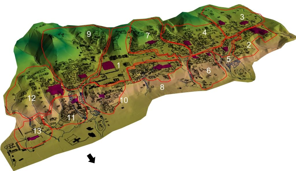 Modelo de elevación digital (DEM) de Palenque con propuesta de Grupos (Modificado de Barnhart 2001)